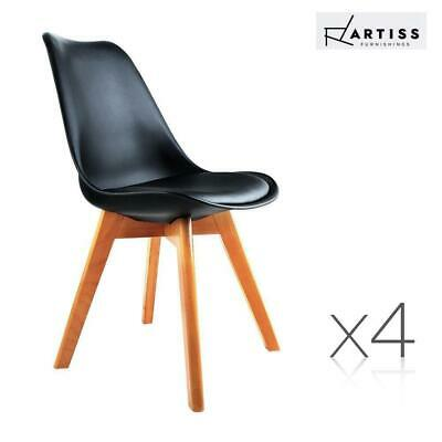 Artiss 4x Eames Dining Chairs Retro Replica Chair Leather Fabric Cafe Kitchen BK