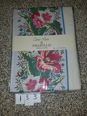 Zina Vasi Cotton Floral Border Print Tablecloth Amaryllis Ivory 70 x 90 NEW
