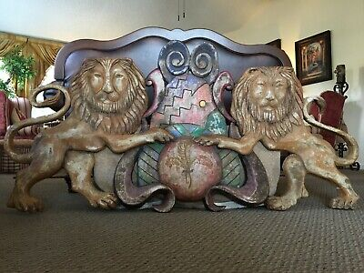 """Magnificent HUGE 67"""" Carved & Painted Wood Lions Carnival Pediment Family Crest"""