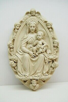+ Madonna and Child Statue Wall Plaque w/Angels + Mary & Angels + + chalice co.