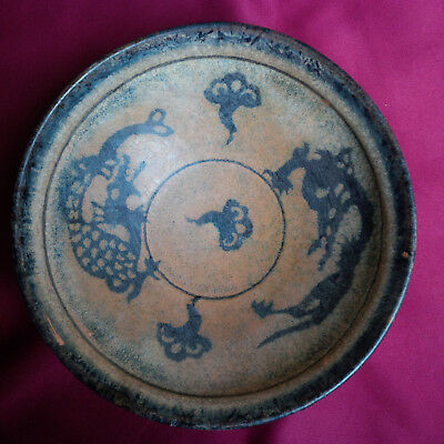 Real Old Chinese Antique Song Black Glazed Paper-Cut 'Dragon' Bowl