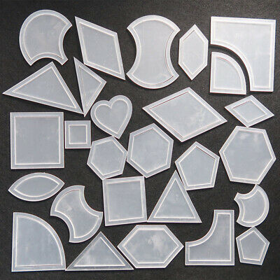 1 Set White Rulers Mixed Quilt Template Plastic Diy Tool For Patchwork Quilter