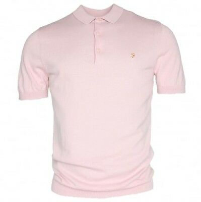 114af1df BNWT Farah Vintage Ben Knitted Rose Pink Polo Shirt XL RRP£65 F4GS8002 Last  One