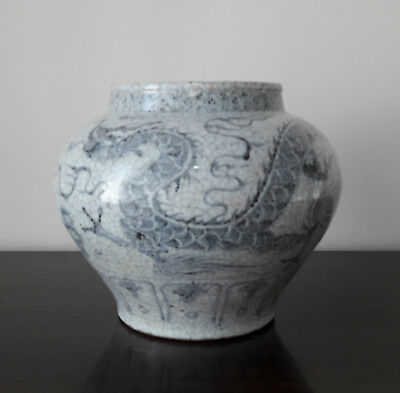 Real Old Chinese Antique Late Yuan-Early MingBlue and White Dragon Jar