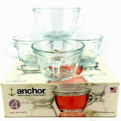 ANCHOR HOCKING 2008 Savannah 7oz Punch Cups Discontinue Glass Embossed In Box