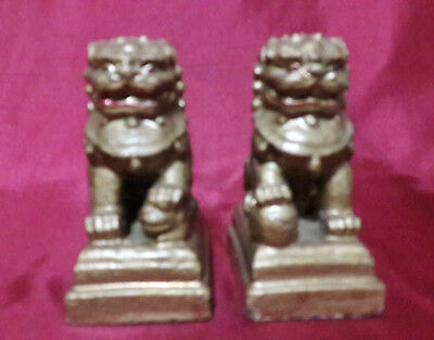 SALE A Pair of Chinese Antique Foo Lion Golden Painting Stone