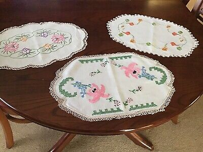 3 Vintage Hand embroidered Large Doilies With Crochet edging In Great Condition.