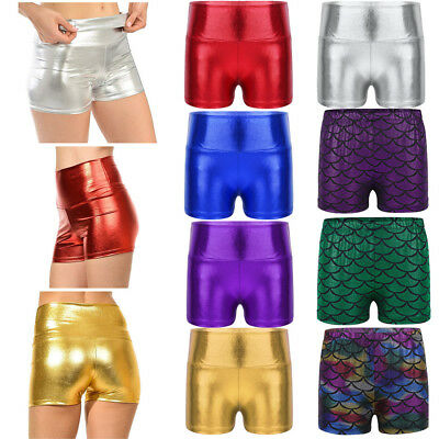 Girls Kids Metallic Shiny Hot Pants High Waist Shorts Dance Gym Sport Bottoms