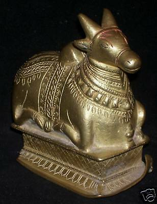 "Antique Traditional Indian Ritual Bronze Hindu ""Nandi""Statue"