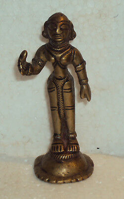 Antique Traditional Indian Ritual Bronze Goddess Radha Statue Rare Collectible#3