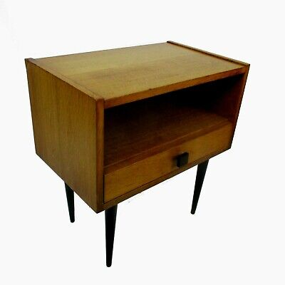Retro Funky Nightstand Wood Mid Century Danish Modern style End table Commode