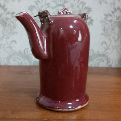 Extremely Rare Chinese Antique Qing Ox-Blood Small Teapot w/ Cover