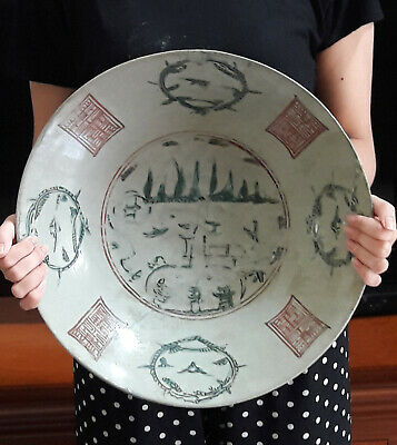 Extremely Old Chinese Antique Ming Swatow Ploychrome Pagoda Scene Charger Dish