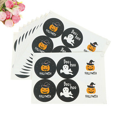 60pcs Happy Halloween Pumpkin Paper Stickers DIY Gifts Candy Bags Labels Tags WR
