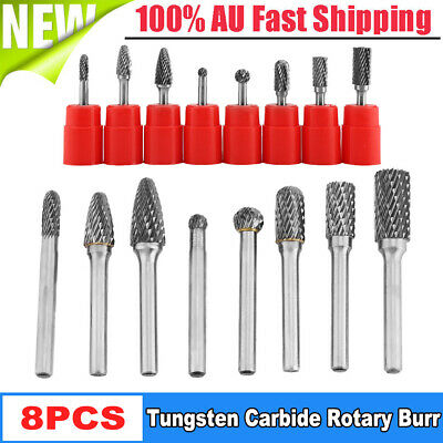"8pcs 6mm 1/4"" Tungsten Carbide Burr Bur Rotary Cutter File Bit Die Grinder CNC"
