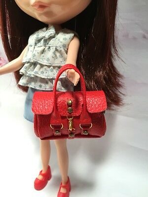 Dollhouse Miniatures Red Fashion Handbag for Blythe/Barbie/Pullip/Licca Doll