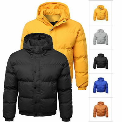 1b360c399f0 Mens Padded Jacket Coat Quilted Puffer Hooded Bubble Neck Zip Down Winter  M-2XL