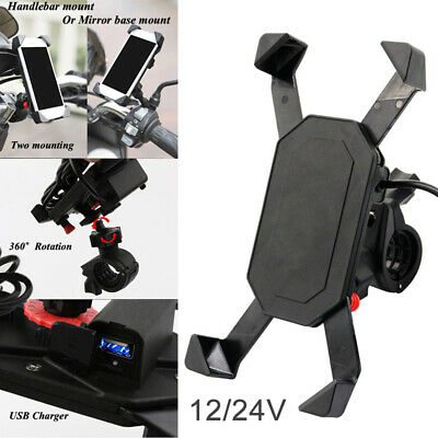 RAM Motorcycle Car Mount Cellphone Holder USB Charger For Phone