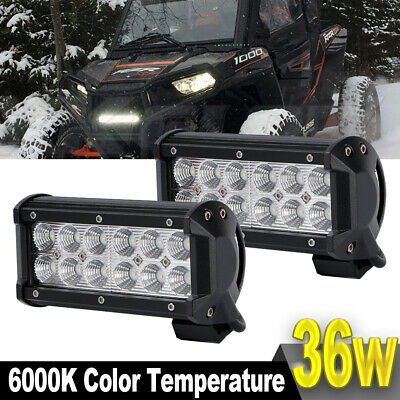 2x 2-Rows 7inch 36W LED Work Light Bar Flood Offroad 4WD SUV Driving Strip Light