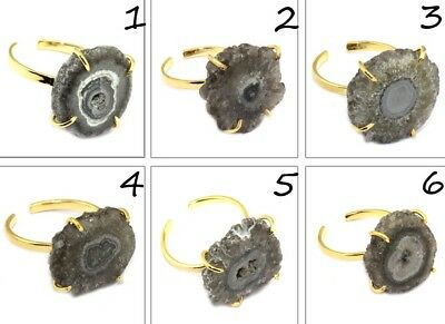 Black Natural Solar Quartz Gold Plated Adjustable Prong Setting Ring Jewelry