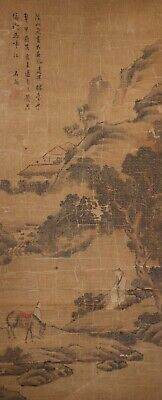 Antique Chinese Scroll Painting on Silk of Figures in Landscape