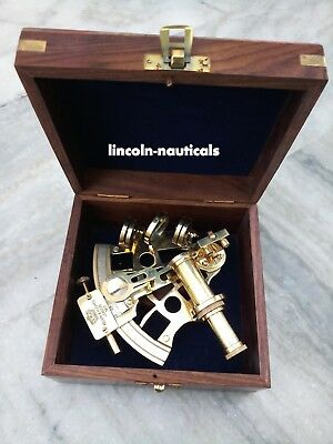 """Replica Heavy Brass Sextant With Wooden Box Maritime Collectible Xmas Gift 4"""""""