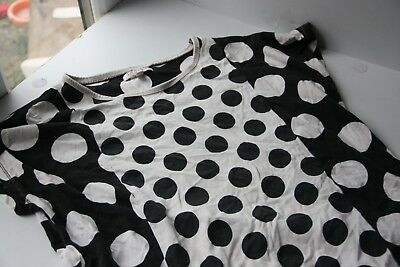 M&S Indigo Collection White & Black Large Polka Dots T-Shirt Size Age 13-14 Yrs