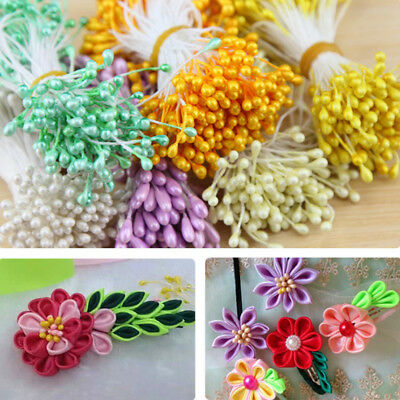 340pc 3mm Wired Pearl Effect Double Head Artificial Flower Making Stamen DIY