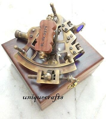 Nautical Brass Sextant W/ Wooden Box Collectible Xmas Gift Vintage Directional.