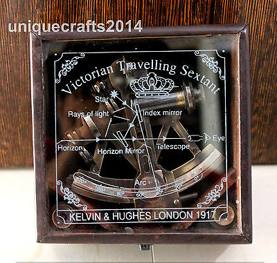 """Vintage Marine Royal Navy Sextant 4"""" With Wood Box Working Astrolabe Gift Decor"""