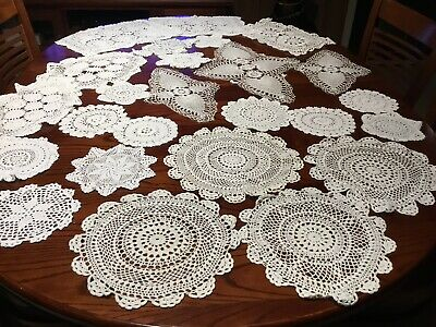 vintage chrochet Doilies Large Medium, Small Size White In Colour Lot A
