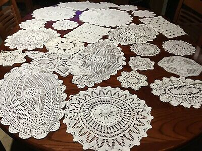 vintage chrochet Doilies Large Medium, Small Size White In Colour Lot B