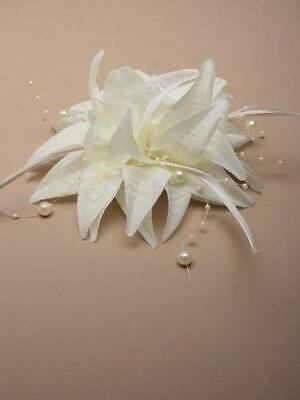 Cream Beaded Flower & Feather Hair Fascinator - Beak Clip - Weddings Race Ascot