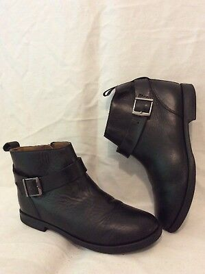 Girls Zara Black Leather Boots Size 35