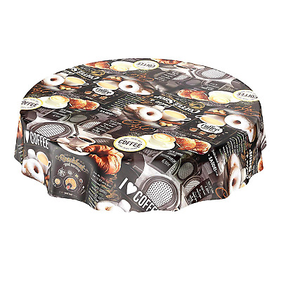 Washable Oilcloth Round Table Cloth with Coffee Donuts Croissant Design Round,