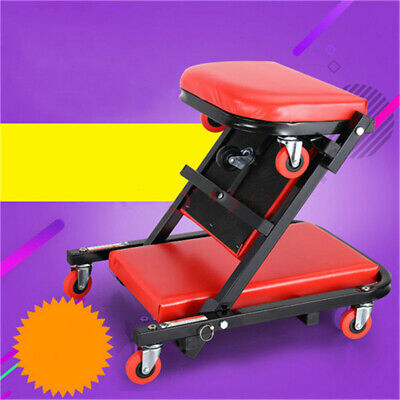 2 IN 1 Foldable Mechanics Padded Car Creeper Workshop Garage Trolley Stool Seat