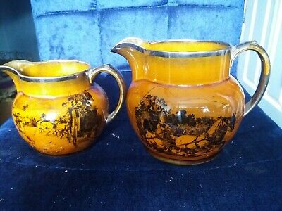 Antique pottery jugs. Vintage. Scenes from Coaching days & Coaching Ways.