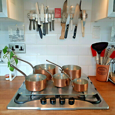 Vintage Set of 5 French Copper Saucepans