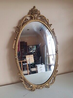 Vintage Gold Brass Plated Wall Mount Oval Mirror French Style Furniture Home Dec