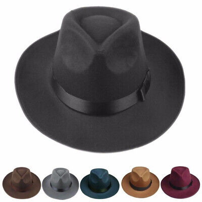 Men Women Vintage Solid Hard Felt Fedora Hat Trilby Cap Gangster Wide Brim Hat