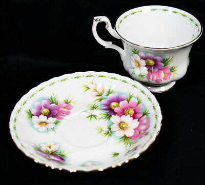 Royal Albert Bone China COSMOS October Flower of The Month Tea Cup & Saucer *