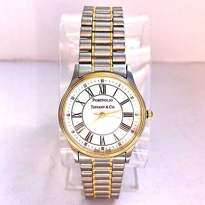 TIFFANY & CO. PORTFOLIO 18K Gold Electroplated & Steel Men's/Unisex Watch In Box