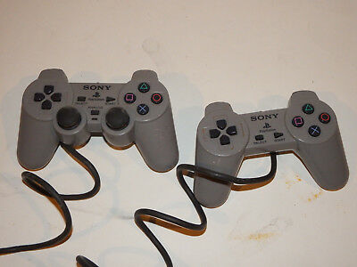 Official OEM Sony Playstation 1 PS1 Psone Controller Set Lot of 2 Gray
