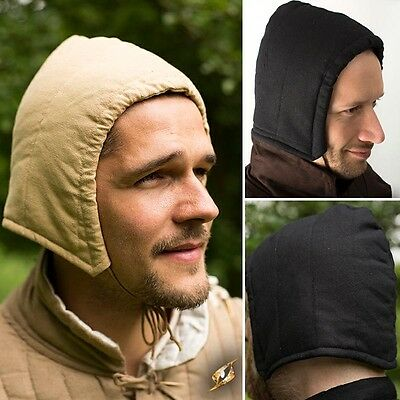 Padded Cotton Arming Cap. Black Or Beige Head Protection For LARP Re-enactment