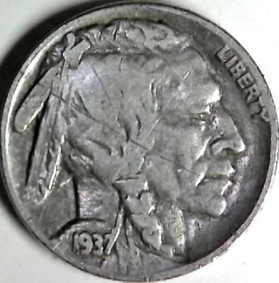 1937 Buffalo nickel 5 cents. Good detail obverse and reverse. 2956