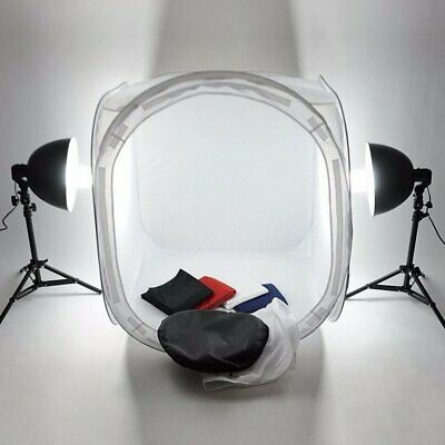 Round Front Foldable 80cm Pop Up Photo Studio Cube Soft Box with 4 Backdrops Y