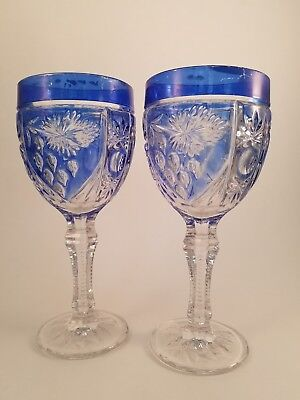 2 vtg heavy crystal cut to clear bohemian style wine   goblets.  Blue