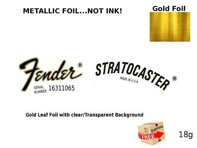 Fender Stratocaster Guitar Headstock Decal Restoration Waterslide Logo Inlay 18g