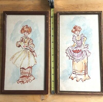 Set /2 Vintage Framed Edwardian Gibson Girl Watercolor Illustrations Paintings