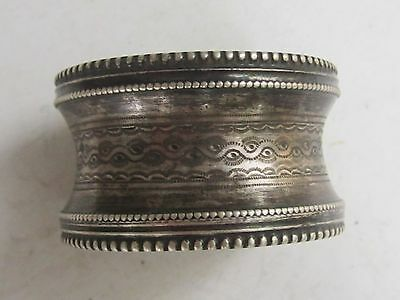 Antique French Sterling Silver Napkin Ring Ornate Engraved -Minerve (950)-19th